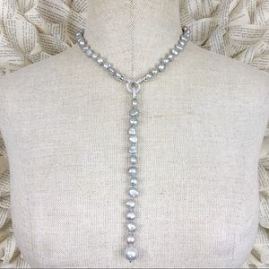 Grey Freshwater Pearl Drop Necklace